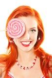 Mulher com lollipop Foto de Stock