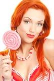 Mulher com lollipop Fotografia de Stock Royalty Free