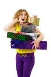 Mulher com lotes dos presentes Imagem de Stock Royalty Free