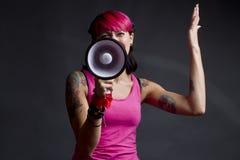 Mulher com loudhailer Imagens de Stock