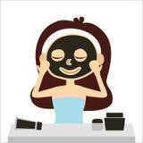 Mulher com máscara da argila e vaidade faciais, vetor Foto de Stock