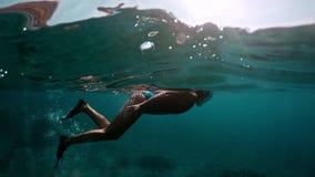 Mulher com a máscara que mergulha na água clara Jovem senhora que mergulha sobre recifes de corais em um mar tropical Mulher com  video estoque