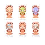 Mulher com máscaras cosméticas faciais diferentes Grupo de ilustrações do vetor isoladas no fundo branco ilustração do vetor