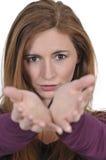Mulher com mãos outstretched Imagem de Stock