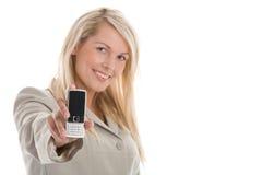 Mulher com móbil fotografia de stock royalty free