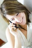 Mulher com móbil foto de stock