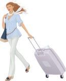 Mulher com mala de viagem ilustração stock