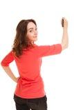 Mulher com marcador preto Fotografia de Stock Royalty Free
