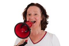 Mulher com megafone Fotos de Stock Royalty Free