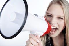 Mulher com megafone Foto de Stock Royalty Free