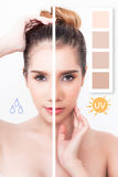 Mulher com meia meia pele escura clara Imagens de Stock Royalty Free