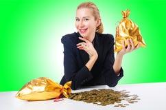 Mulher com moedas Fotografia de Stock