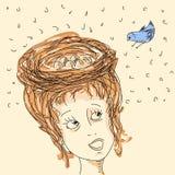 Mulher com ninho do cabelo ilustração royalty free