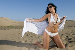 Mulher com o biquini na praia foto de stock royalty free
