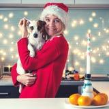 Mulher com o cão no chapéu do Natal imagem de stock