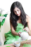 Mulher com o copo de Coffe Imagem de Stock Royalty Free