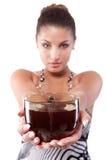 Mulher com o copo do chá fotos de stock royalty free