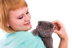 Mulher com o gato da dobra do scottish fotografia de stock