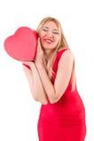 Mulher com o giftbox isolado Imagem de Stock Royalty Free