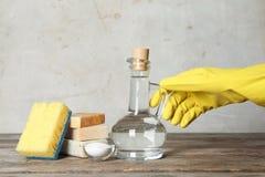 Mulher com o jarro de fontes do vinagre e de limpeza fotos de stock royalty free