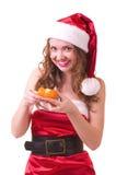 Mulher com o mandarino alaranjado Foto de Stock