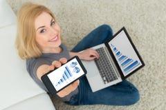 Mulher com o portátil que mostra o gráfico no telefone celular imagens de stock royalty free