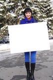 Mulher com o poster imagens de stock