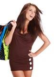 Mulher com o saco de compra colorido Fotos de Stock Royalty Free