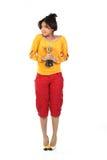 Mulher com o troféu do ouro fotografia de stock royalty free