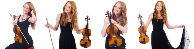 A mulher com o violino isolado no branco imagem de stock royalty free