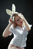 Mulher com orelhas Foto de Stock Royalty Free