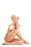 Mulher com orquídea branca Imagens de Stock Royalty Free