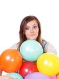 Mulher com os balões, isolados. Imagem de Stock Royalty Free