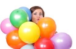 Mulher com os balões, isolados. Fotografia de Stock