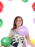 Mulher com os balões, isolados. imagens de stock royalty free