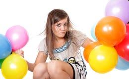 Mulher com os balões, isolados. fotografia de stock royalty free