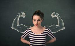 Mulher com os braços fortes e muscled esboçados Imagens de Stock