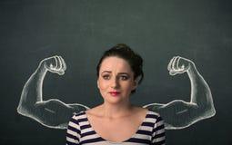 Mulher com os braços fortes e muscled esboçados Fotos de Stock Royalty Free