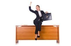 A mulher com os lotes do documento isolados no branco Fotografia de Stock Royalty Free