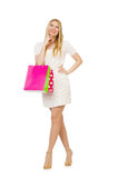 Mulher com os sacos de compras isolados Fotos de Stock