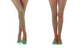 A mulher com p?s e as meias longos fotos de stock