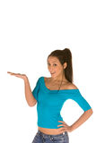 Mulher com palma aberta Imagens de Stock Royalty Free