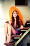 Mulher com parasol Fotografia de Stock Royalty Free