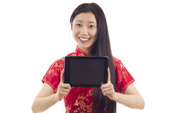Mulher com PC da tabuleta foto de stock royalty free
