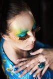 Mulher com penteado e composição da fôrma Fotos de Stock