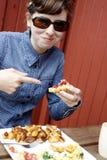 Mulher com pequeno almoço Imagens de Stock