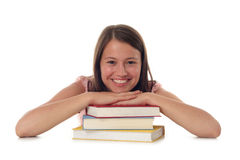 Mulher com a pilha de livros Imagens de Stock