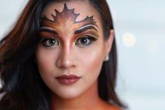 Mulher com pintura da cara da queda imagem de stock royalty free