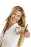 Mulher com polegares acima imagem de stock