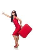 A mulher com polegares acima no branco Imagens de Stock